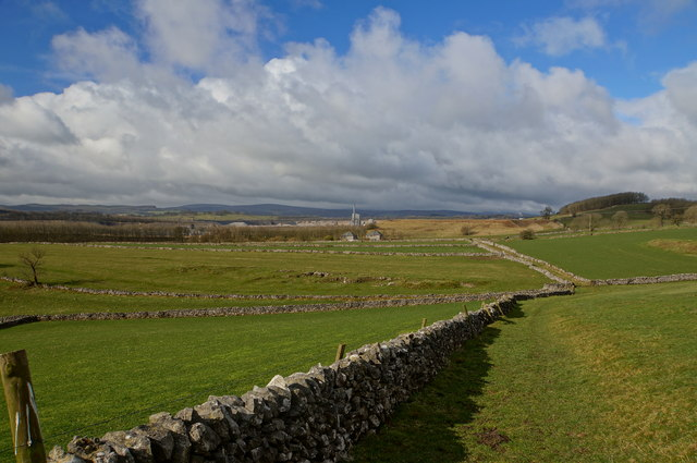 Fields, dry stone walls and Tunstead Quarry