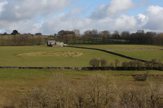Barn, field and badger sett, near Wormhill