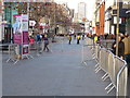 SK5804 : Barriers along Leicester's High Street by Mat Fascione