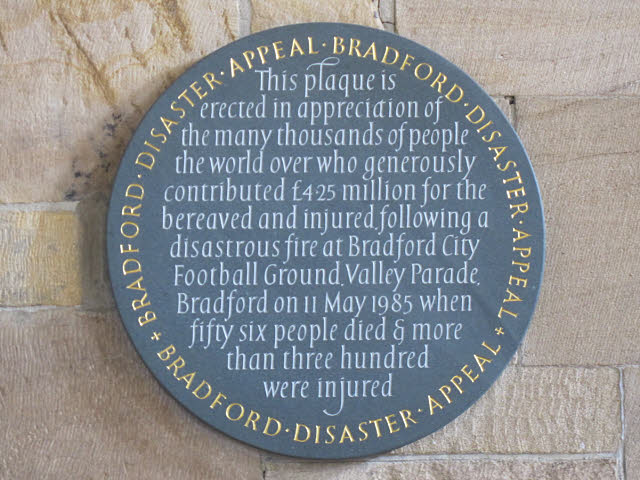 Bradford Cathedral: plaque to fire victims