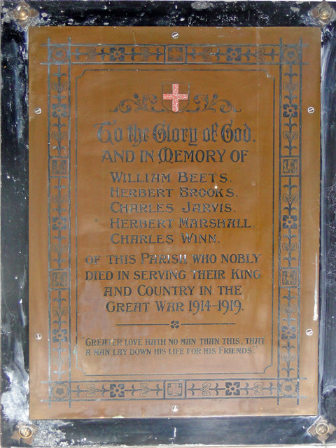 War Memorial in Dunton cum Doughton St Peter's church