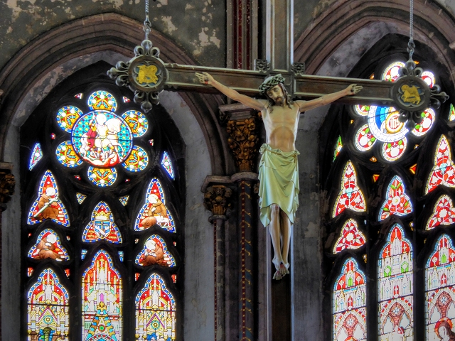 Hanging Crucifix and Stained Glass Window, Gorton Monastery