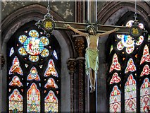 SJ8796 : Hanging Crucifix and Stained Glass Window, Gorton Monastery by David Dixon