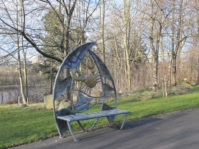 Ornamental bench at the Rose Street entrance to Gateshead Riverside Park