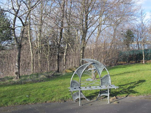 Another ornamental bench at the Rose Street entrance to Gateshead Riverside Park