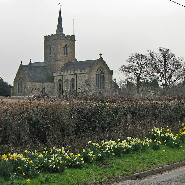 Thriplow church in early spring