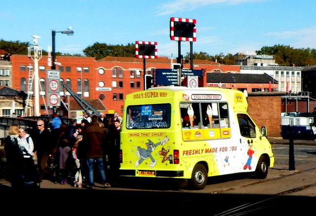 Ice cream van near Prince Street Bridge, Bristol