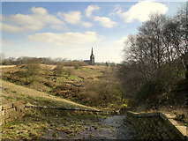SD6715 : St Peter's, Belmont from Ward's Reservoir Overflow by Gary Rogers