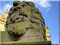 "SE1337 : Sandstone Lion ""Peace"" outside Saltaire Institute by David Dixon"