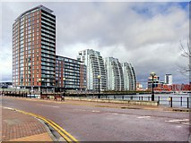 SJ8097 : High Rise Apartments at Salford Quays by David Dixon