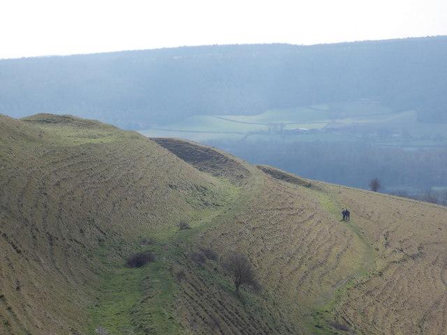 Chlid Okeford: three walkers on Hambledon Hill