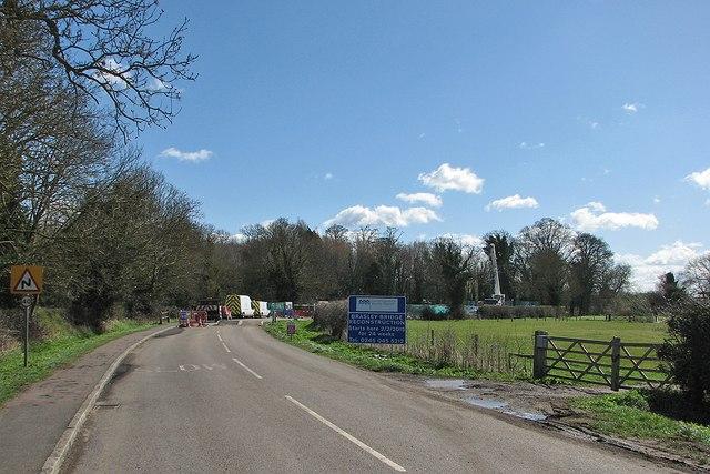 Grantchester: road closed for bridge rebuilding