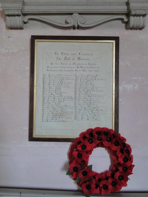 Roll of Honour at Rendlesham church
