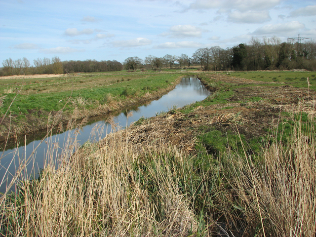 Drainage ditch in marsh pastures south of the River Chet