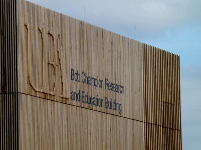 Bob Champion Research & Education Building sign