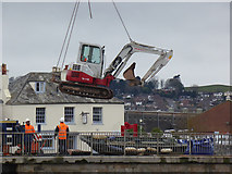 SX9291 : Beware low flying excavator! by Chris Allen
