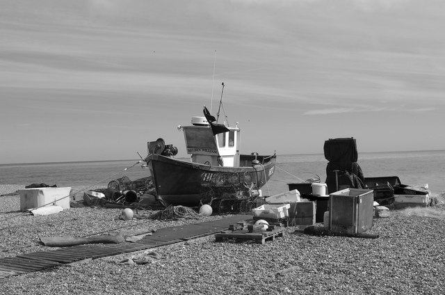 Fishing boat and paraphernalia, Aldeburgh