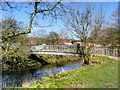 SD6627 : River Darwen, Footbridge at Witton Country Park by David Dixon