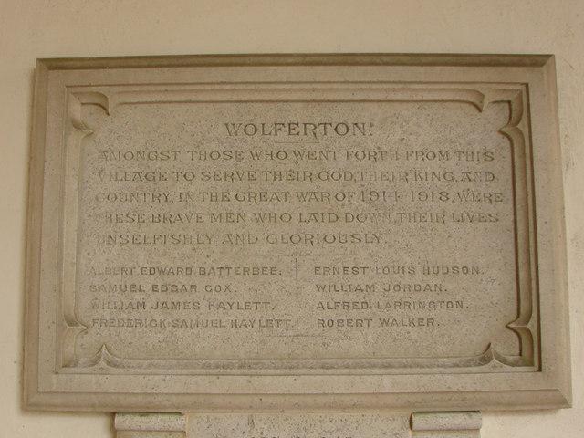 Wolferton WW1 memorial in the church porch