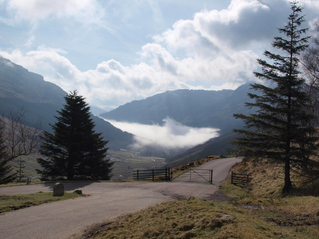 Top of the old military road in Glen Croe
