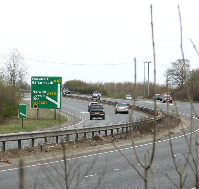 Traffic on the A47 road