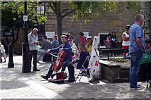 SD9927 : Classical buskers on Bridge Gate, Hebden Bridge by Phil Champion