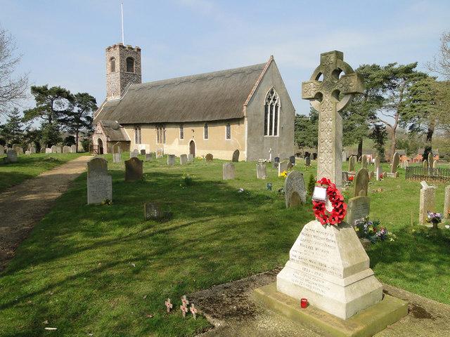The War Memorial and church at Thurton
