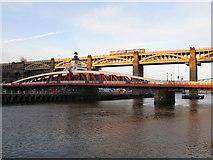 NZ2563 : Tyne Swing Bridge and High Level Bridge by G Laird