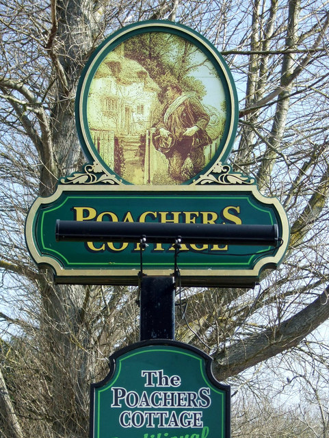Sign for the Poachers Cottage, Callerton