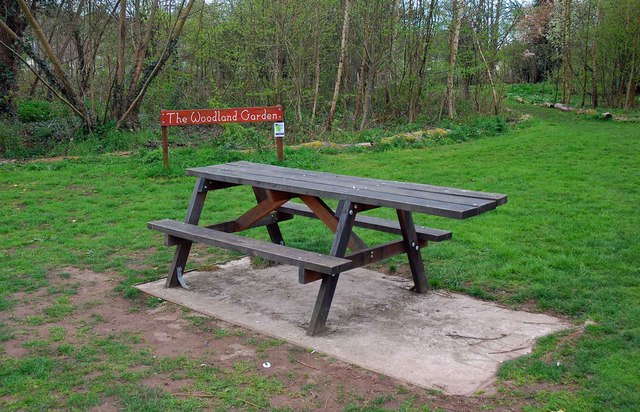 Picnic table in the Woodland Garden, Springfield Park, Kidderminster
