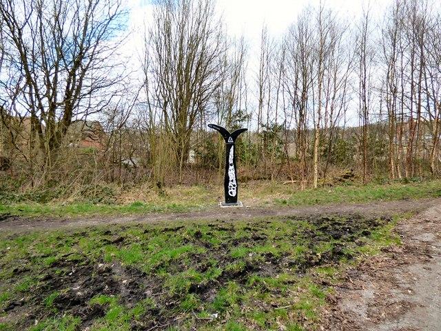 Sustrans Milepost at Godley