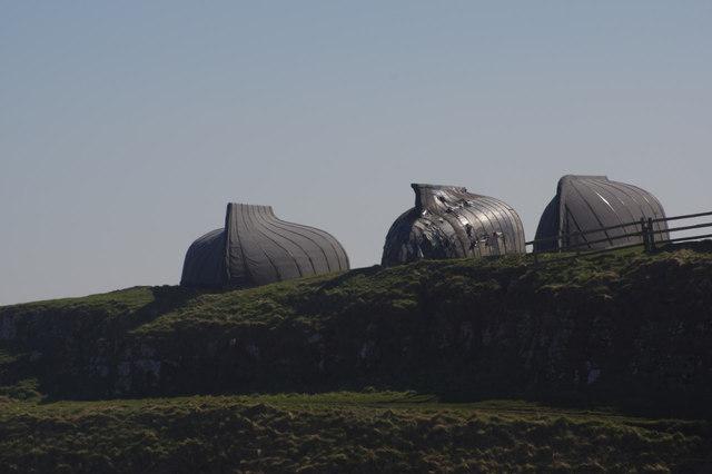 Upturned boat sheds, Lindisfarne Castle
