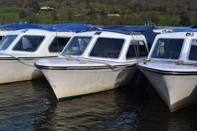 Moored hire boats on Coniston Water