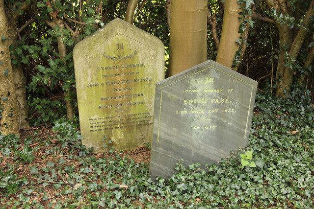 Headstones in Rauceby Hospital burial ground