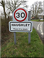 TM0262 : Haughley Village Name sign on The Folly by Geographer