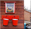 SO6204 : Red fire buckets and old Forestry Commission notice, Norchard, Lydney by Jaggery
