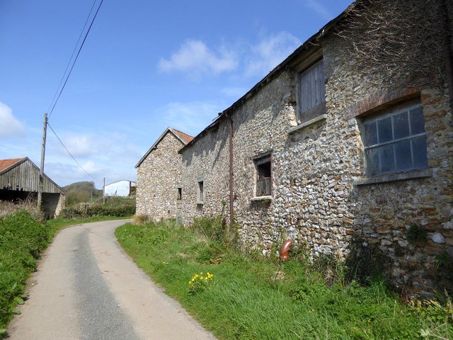 Old stone buildings at Cookshayes Farm
