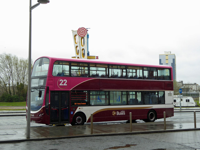 Lothian buses number 22 at Ocean Terminal Leith