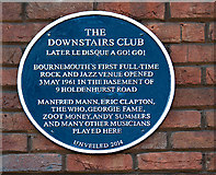 SZ0991 : Bournemouth Blue Plaques: No. 30 - the Downstairs Club by Mike Searle