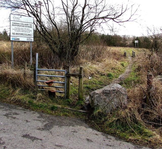 Stile to a track through a colliery tip restoration site, Caerau