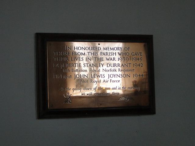Brass WW2 Memorial in Tivetshall St. Margaret's church