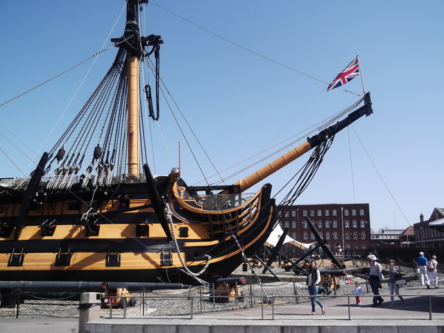 Bow and flag, HMS Victory, Historic Dockyard, Portsmouth