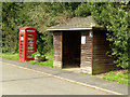 SK6826 : Bus shelter and telephone kiosk by Alan Murray-Rust