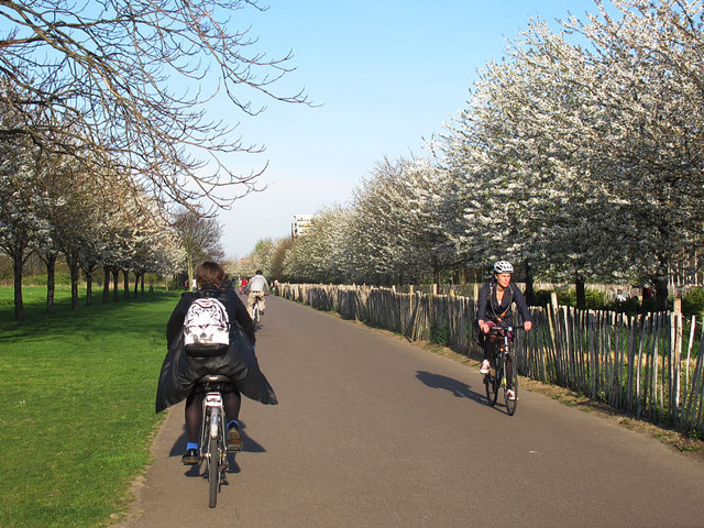 Cyclists passing in Burgess Park