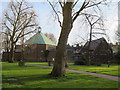TQ3478 : Avondale Square: rear of St Philip's church and hall by Stephen Craven