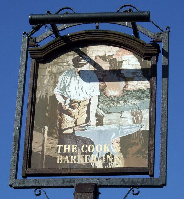 Sign for the Cook & Barker Inn, Newton on the Moor