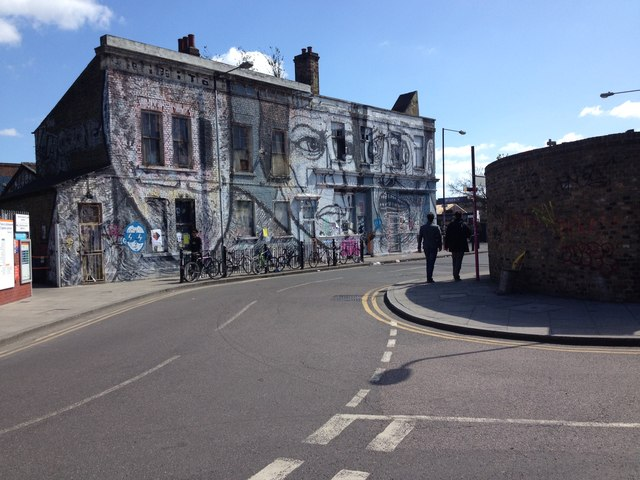 Houses with street art, Hackney Wick