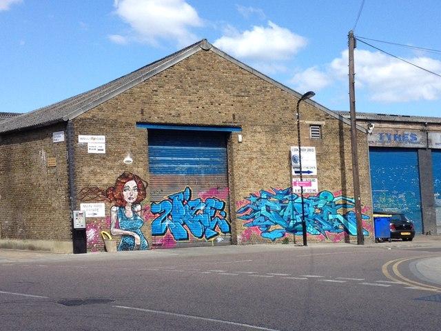 Garage unit with street art Hackney Wick