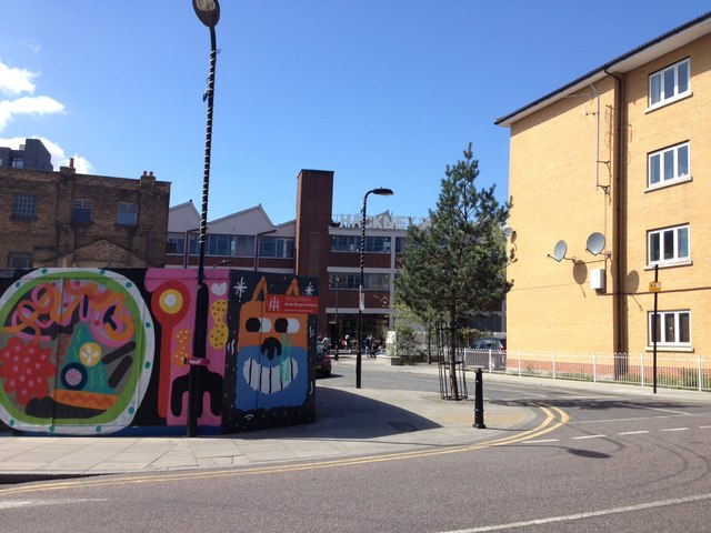Cheerful boards and The Hackney Pearl, Hackney Wick