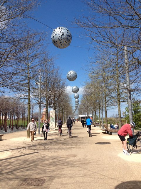 Artwork above path -Queen Elizabeth Olympic Park